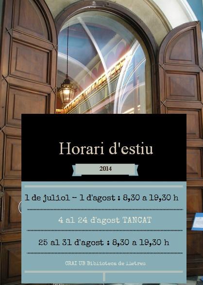 horari d'estiu CRAI Lletres 2014
