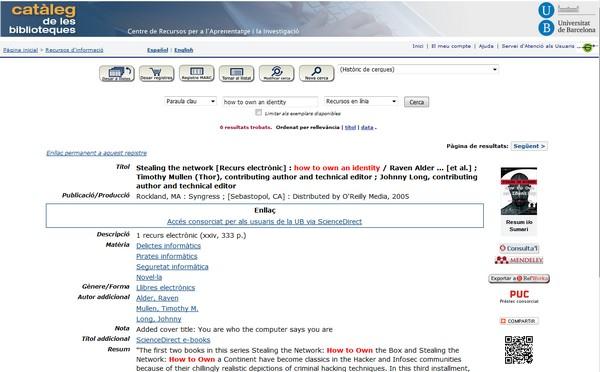 visualització referència catàleg CRAI UB