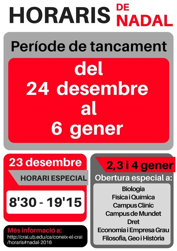 Horaris de Nadal 2016 CRAI UB