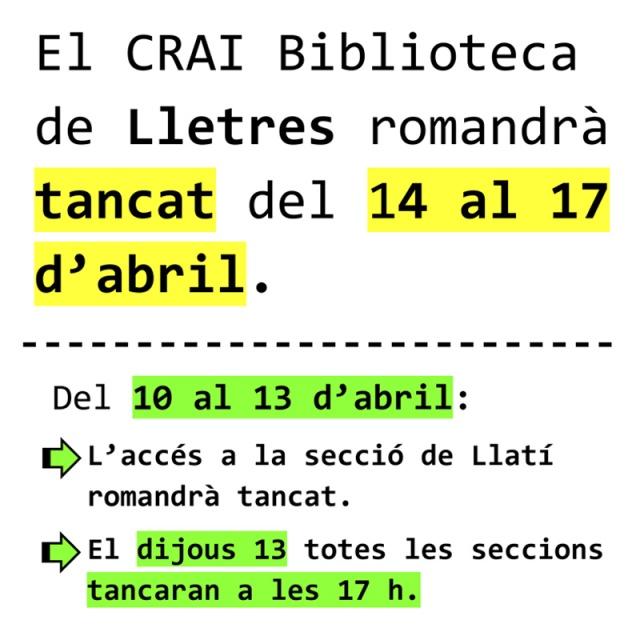 Horaris de Setmana santa - CRAI UB Biblioteca de Lletres