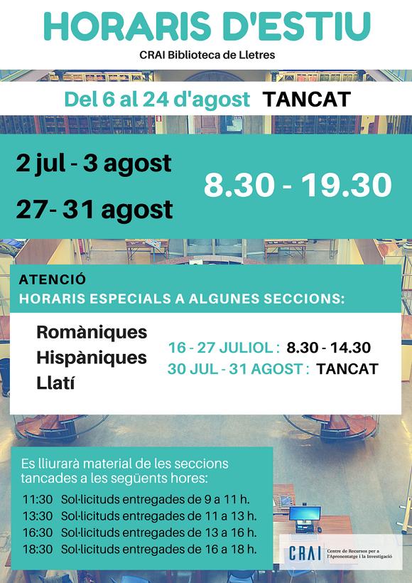 Horaris estiu 2018 CRAI UB (tancat del 6-24 d'agost)