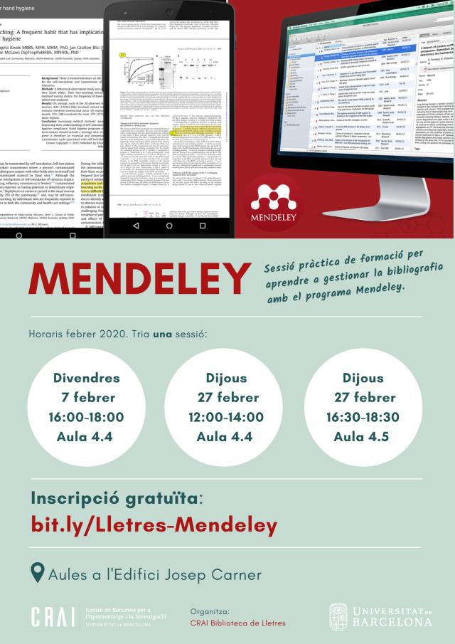 Mendeley: sessions de formació